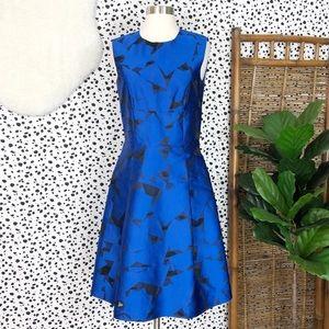 ETRO | Geometric Silk Orgaza A Line Cocktail Dress